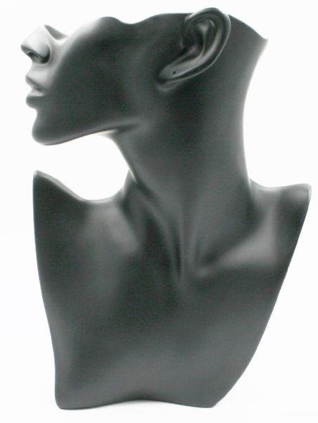 Realistic necklace display bust black